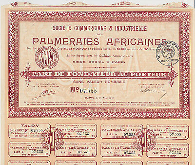 1920 Societe Commerciale et Industrielle Palmeraies Africaines Bond Paris Nice