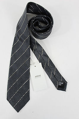 New Armani Collezioni Men Silk Suit Neck Tie Blue Navy Gray Stripes Italy Made