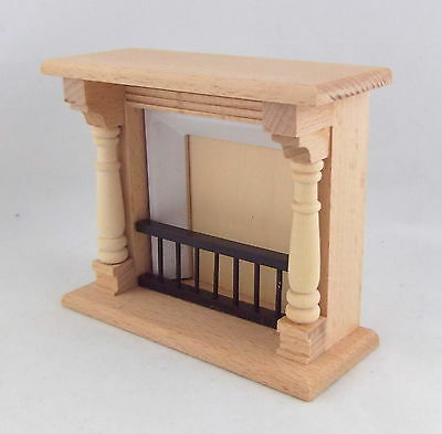 Dolls House Miniature Furniture Unfinished Natural Wood Fireplace