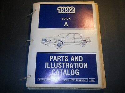1992 Buick Century Parts And Illustration Catalog A Body September 1991
