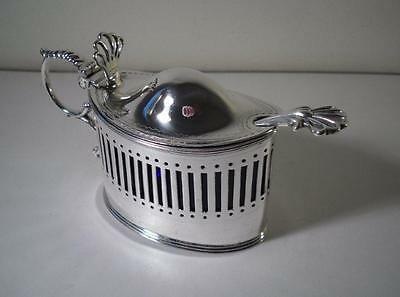 A Large Antique Silver Mustard Pot & Blue Glass Liner : London 1903