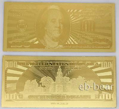 U.S. dollar $100 Gold Banknote Notes Reproductions Unusual Beautifully Crafts