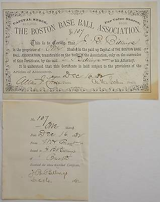 1882 Boston Red Stockings Baseball Association Stock Certificate Atlanta Braves