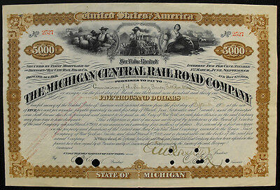 USA Amerika  Michigan Central Railroad  bond 5000 Dollar 1906 Eisenbahn Lok