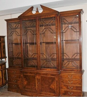 English Gothic Victorian Breakfront Bookcase Walnut Furniture