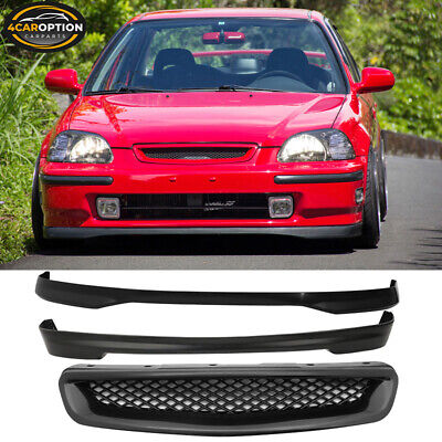 Fits 96-98 Honda Civic 3Dr T-R Style PP Front Rear Bumper Lip & ABS Hood Grille