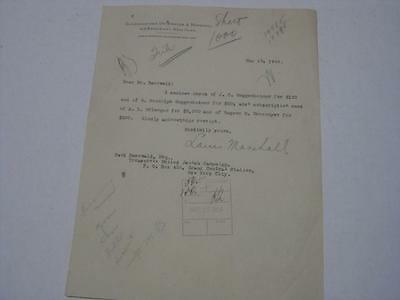 Original Signed Letter by LOUIS MARSHALL ! raising funds for Jewish Campaign