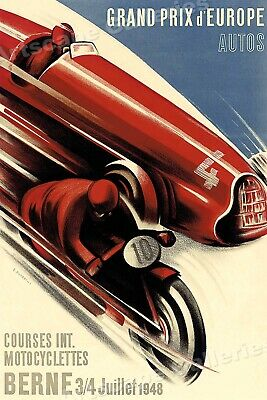 Grand Prix d'Europe Berne 1940's Vintage Style Auto Racing Poster - 16x24