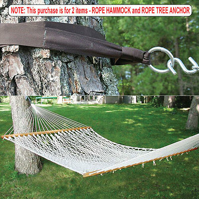 "Extra Wide! 59"" Swing Double Size Rope Bed Hammock + Hanging Tree Strap New"