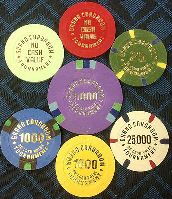 SET OF 7 BLUE CHIP GRAND CARDROOM TOURNAMENT NCV 100% CLAY CHIPS Free Shipping