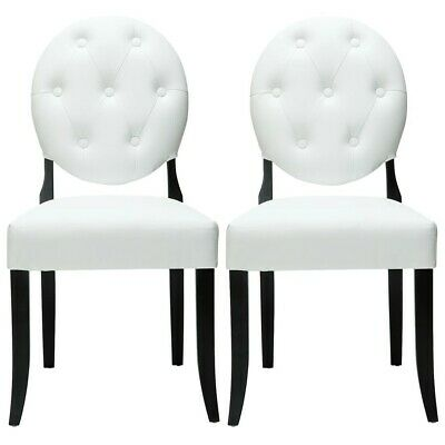 Modway Furniture Button Dining Chairs Set Of 2, White - EEI-912-WHI