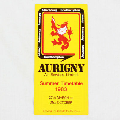 Aurigny Air Services - Summer Timetable 1983 - Airline Timetable