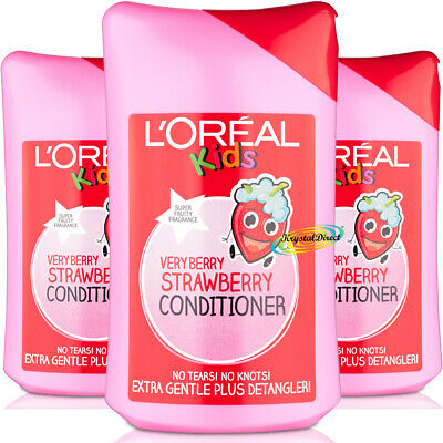 3x L'Oreal Loreal Kids Very Berry Strawberry Conditioner 250ml