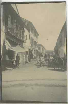 Singapore, Street in Singapore  Vintage citrate print.  Tirage citrate  6x9