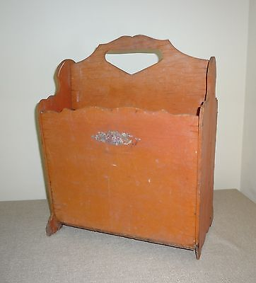 Vintage Retro Original Old Red Paint w Decals Painted Magazine Rack - To Restore