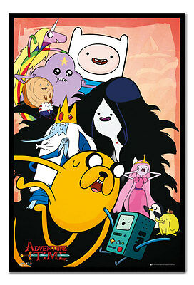Framed Adventure Time TV Show Collage Poster New