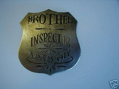 BROTHEL INSPECTOR BADGE KANSAS CITY nickle silver overlay on COPPER  CLOSEOUT