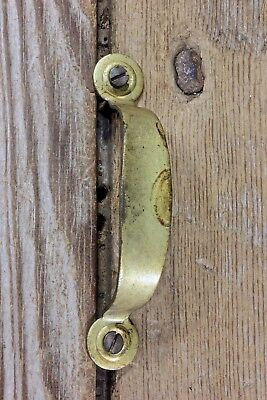 old door pull drawer handle vintage tarnished brass color vintage screws 3 3/8""