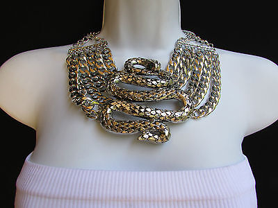New Women Antique Silver Metal Snake Necklace Earrings Big Fashion Pendant Jewel