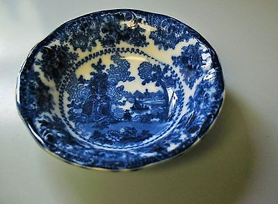 Gorgeous Antique Dark Flow Blue Fairy Villas Bowl, W Adams 1891 Tunstall England