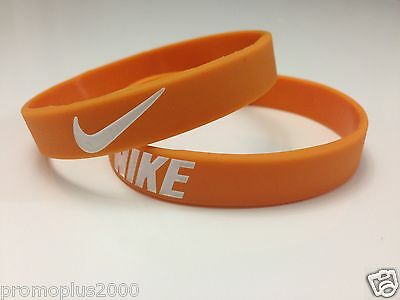 Nike Sport Baller Band Silicone Rubber Bracelet Wristband Orange/white