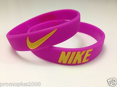 Nike Sport Baller Band Pink with Yellow Silicone Rubber Bracelet Wristband