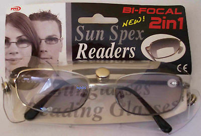 New Packed 2in1 BiFocal Reading Sunglasses +3.00D (5a)