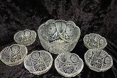 Vintage Victorian EAPG Sparkling Berry Bowl  Lot of 7 Pcs Early American Pattern