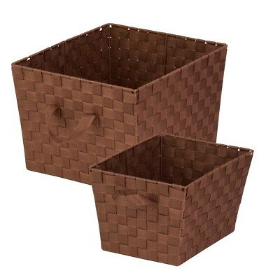Honey Can Do 2-Pc Woven Basket Set, Chocolate - STOX05042
