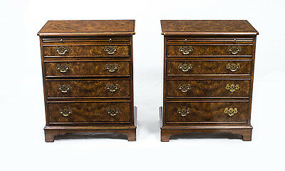 Pair of Walnut Bedside Chests Cabinets With Slides