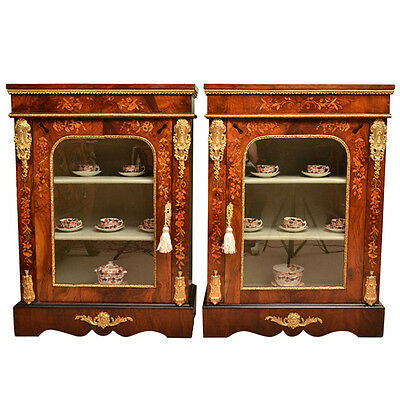 Antique Pair Victorian Marquetry Pier Cabinets c.1860