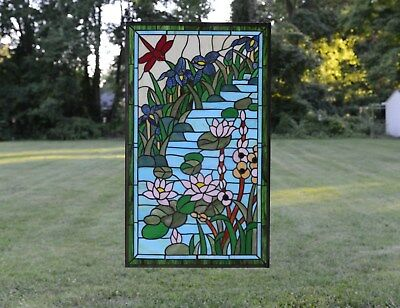 "20"" x 34"" Large Tiffany Style stained glass window panel Dragonfly water lily"
