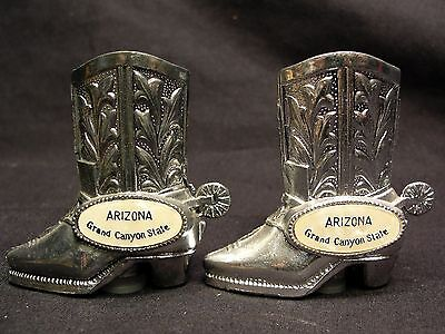 ARIZONA GRAND CANYON State Silver Cowboy Boots Vintage Salt Pepper Shakers Japan
