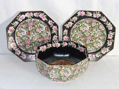 Crown Ducal Chintz ROSELAND Octagon Serving Bowl & 2 Plates