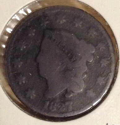 1827 Coronet Head Large Copper Cent - Nice Circulated Condition Coin
