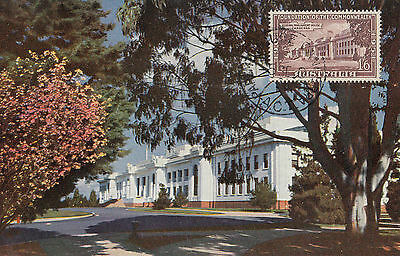 Parliament House Canberra Australia maximum card with 1/6 federation stamp