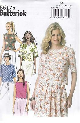 Butterick Sewing Pattern Misses' Semi-Fitted Top  Sizes 6 - 22 B6175