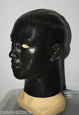 Black Latex Rubber Gummi Hood Full Head Face Cosplay Fetish Woman Female Mask