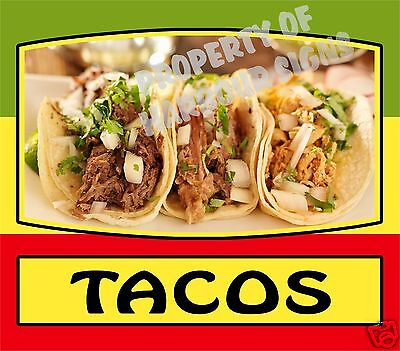 """Tacos Decal 14"""" Mexican Latino Food Truck Restaurant Concession Cater Vinyl Menu"""