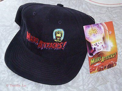 Vintage 1990's Mars Attacks Baseball Cap - Black with Embroidery