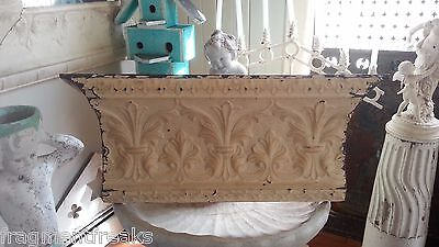 "Antique Tin Ceiling Tile Shelf 41"" RECLAIMED Shabby Toasted Almond Brown"