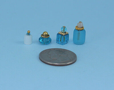 Beautiful Set of 4 Dollhouse Miniature Perfume Bottles for your Vanity #PS33