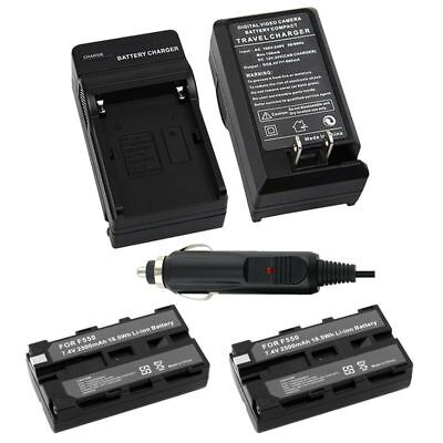 2 Battery+Charger for Sony NP-F550 NP-F330 NP-F570 NP-F750 NP-F960 F970 F770