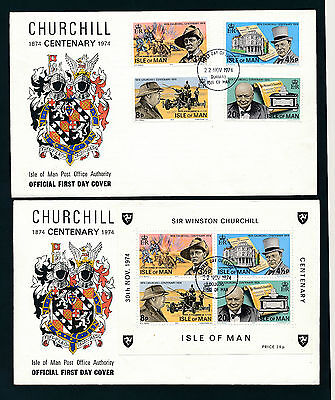 2 First Day Cover Sir Winston Churchill, Isle of Man   4/5/15