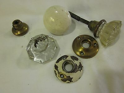 Lot of Antique Glass Porcelain brass Door knob Repair lot