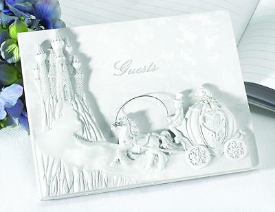 Once Upon a Time Cinderella Fairytale Pearl Horse & Carriage Wedding Guest Book