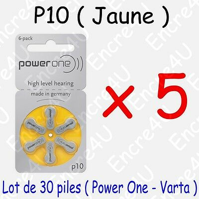 30 piles auditives : JAUNE P10 ( = 5 blisters )