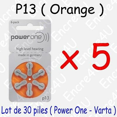 30 piles auditives : ORANGE P13 ( = 5 blisters )