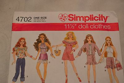 Simplicity #4702 Barbie Doll CLOTHES Sewing Pattern UNCUT