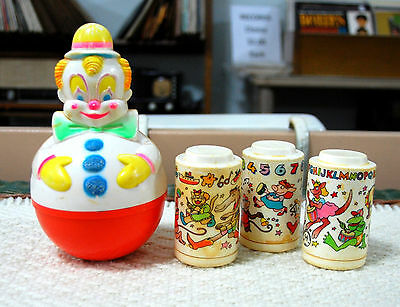 Vintage Baby Roly Poly Webble  &  Johnson & Johnson Stackable Shakers -Celluloid